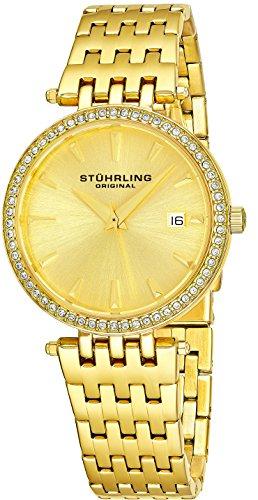 Stührling Original 579.03 - Reloj analógico para mujer, correa de acero inoxidable, color oro