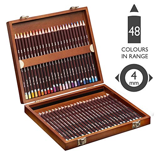 Derwent2301660 Coloursoft Colouring Pencils, Set of 48 in Wooden Gift Box, Professional Quality, Multicolor