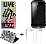 K-S-Trade Für Ruggear RG730 Schutz Hülle 360° Wallet Case ''live Life Love'' Schutzhülle Handy Hülle Handyhülle Cover Tasche Etui inkl. ohrstöpsel (1 STK)