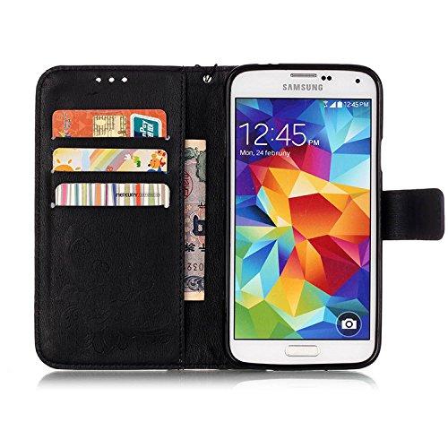 Samsung Galaxy S5 Cases, Schmetterling Prägung Fall Auf Weiche Tpu Silicon Für Pu - Leder Mit Seil Stehen Brieftasche Für Samsung Galaxy S5 ( Color : Dark Blue ) Black