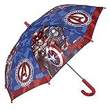 Paraguas Largo Marvel Los Vengadores Niño con Capitán América Iron Man y Thor - Paraguas Avengers Resistente y antiviento - Apertura de Seguridad - 3-6 Años - Azul y Rojo - Diámetro 76 cm - Perletti