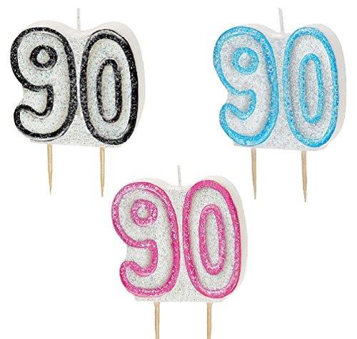 py Birthday Pink Blau Schwarz Glitz Party geformt Kuchen Kerze Kerzen, Black,Blue,Pink, Age:90th ()