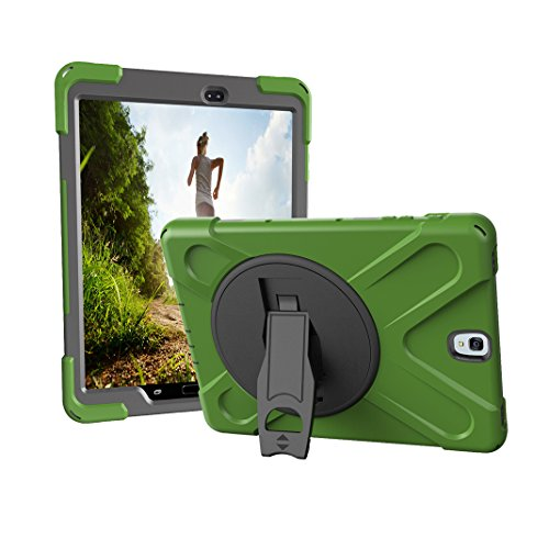 Asnlove Tablet Galaxy Tab S3 9.7 T820 Hülle, 360 Grad Drehbare Robustes Kunststoff Hard Case mit Displayschutz - Ausklappbarer Standfuss für Samsung Galaxy Tab S3 9.7 Zoll SM-T820, Armee grün - Armee-samsung Case Galaxy S3