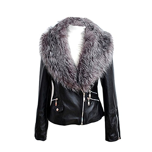 VLUNT veste de fourrure d'hiver veste de manteau de la veste des femmes Manteau Parka en fausse fourrure E