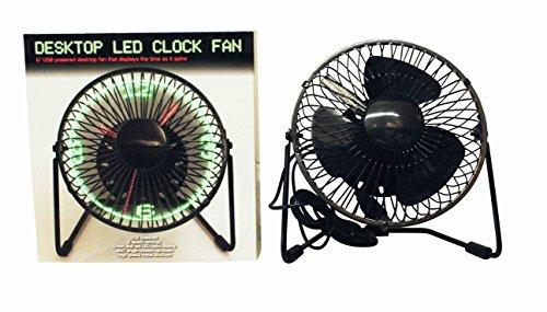 Reloj Ventilador USB con LED Accesorio para Oficina Rotación Circular Completa