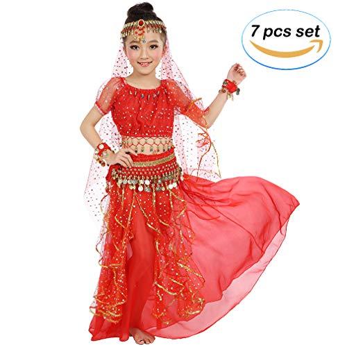 Magogo Mädchen Bauchtanz Kostüm Geburtstagsparty Kostüm, Kinder Cosplay Arabische Prinzessin Dancewear Glänzende Karneval Outfit (S, Rot) (Rote Prinzessin Kostüm)