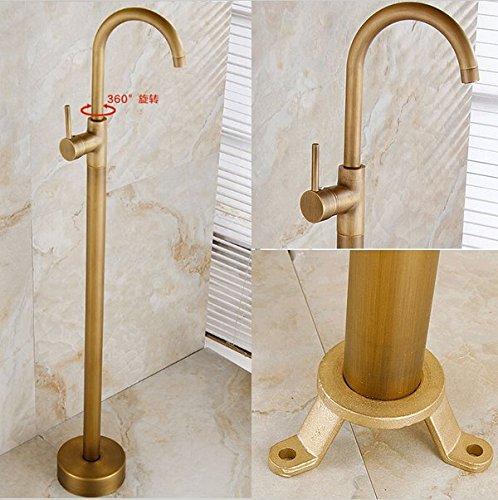 Gowe Messing antik Badezimmer Badewanne Wasserhahn Bodenmontage Tub Filler schwenkbarer Auslauf