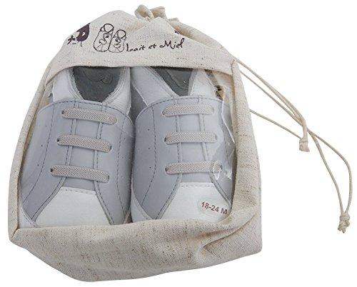 Lait et Miel Leder Lauflernschuhe Krabbelschuhe Babyschuhe im sportlichen Design Grau 18-24 Monate Grau