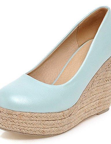 WSS 2016 Chaussures Femme-Bureau & Travail / Habillé-Bleu / Rose / Blanc-Talon Compensé-Compensées / Talons / A Plateau / Bout Arrondi-Talons- blue-us6.5-7 / eu37 / uk4.5-5 / cn37