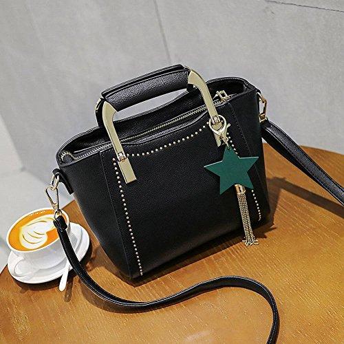 YTTY Damen Tasche Mode Nieten Flügel Tasche Quaste Handtasche Wilde Schulter Messenger Bag, schwarz
