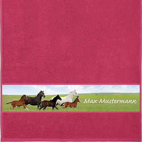 Manutextur Handtuch mit Namen - personalisiert - Motiv Tiere - Pferde - viele Farben & Motive - Dusch-Handtuch - Fuchsia - Größe 50x100 cm - persönliches Geschenk mit Wunsch-Motiv und Wunsch-Name