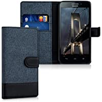kwmobile Funda para Huawei Ascend G620s - Wallet Case plegable de cuero sintético - Cover con tapa tarjetero y soporte en azul oscuro negro