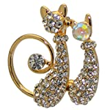 AJ Bijoux de Mode KIT N Kat Gold Plated Crystal Pair Cats Brooch