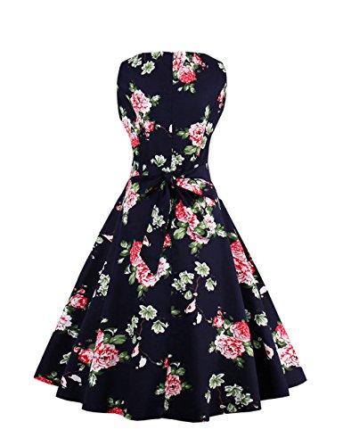 VKStar® Vintage Kleidung Damen 50er 60er Rundhalsausschnitt Hepburn Kleid Retro Damen ärmellos Abendkleid Rockabilly Schwarz