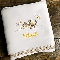Plaid couverture polaire OURSON brodé et personnalisé avec le prénom de bébé, garçon fille, cadeau naissance, bapteme, 72x72cm, cosy, poussette, doux au toucher