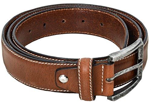 Gusti Leder studio Cinturón de Cuero 120 cm para Hombre Mujer Unisex Chico Joven Señor Caballero Señora Chica Cinto Hebilla Piel Auténtica Elegante Marrón 2G109-29-15-115