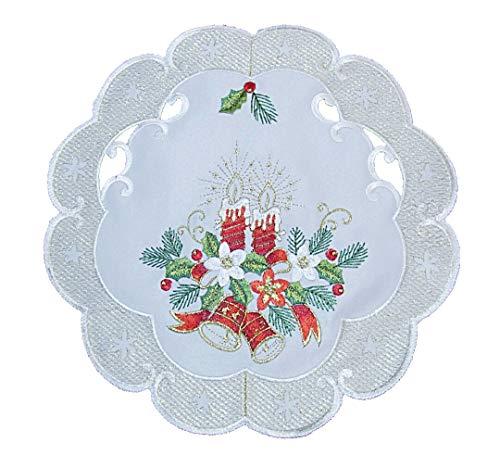 Tischläufer Tischdecke Mitteldecke Tischband Weihnachtsdecke Weihnachten gestickt Kerzen Glocken Creme Gold (30 rund)