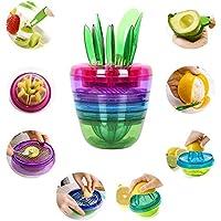 Juego de utensilios de cocina creativo con diseño de frutas y plantas de Formado por 10 piezas, con malla rebanadora, ahuecador, cortador de frutas, exprimidor de limones.