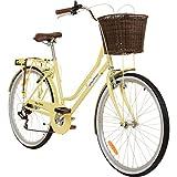 Galano 26 Zoll Cityrad Belgravia 6 Gang Damenfahrrad Mädchenrad Citybike mit Korb, Farbe:Gelb, Rahmengrösse:18 Zoll