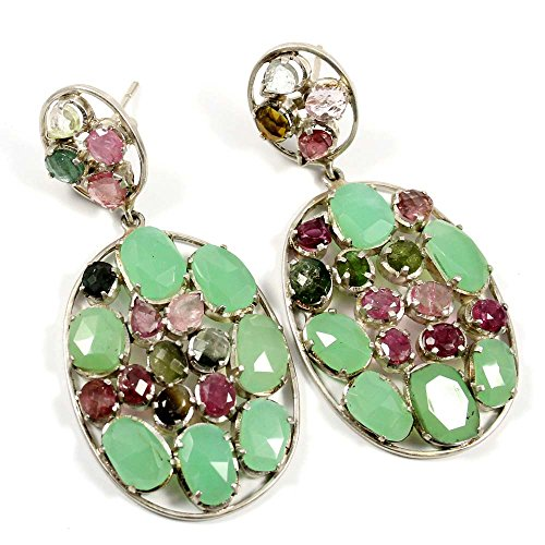 Goyal Impex Natural Crysophrase & Multi Tourmaline Gemstone,Solid 925 Sterling Silver Earing
