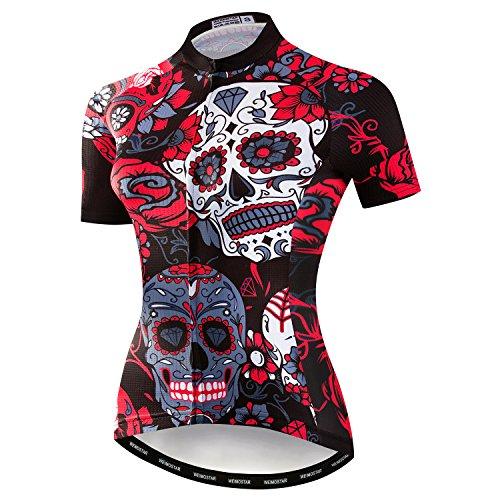 Weimostar Mountainbike-Jersey-Shirts der Radfahren Jersey-Frauen Kurze Hülse Straße Fahrrad-Kleidung Pro-Team MTB übersteigt Sommer-Kleidung Schädel rot Größe L -