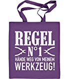 Männer Geschenk - Regel Nummer 1 Hände Weg von meinem Werkzeug! Jutebeutel Baumwolltasche One Size Violett