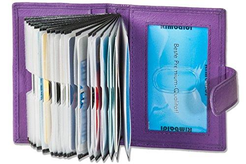 """Titolare della carta di credito XXL """"Rimbaldi"""" con 19 scomparti per carte in morbida pelle di vitello trattata Melanzana"""