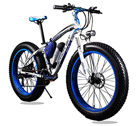 Richbit® RT-012 Blue New Updated Eletric Bike Mountain Bike Cruiser Bike Hybrid Bike Mens Bike Beach Fat Tire Bicycle Shimano 7 Speeds Snow Road eBike 4.0inch Fat Tire Suspension
