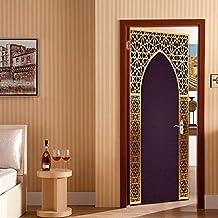 Etiqueta Engomada De La Puerta Estéreo 3D, Estilo Árabe, Separable Mural Poster Escena Etiqueta