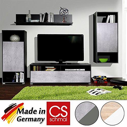 Wohnwand Anbauwand Schrankwand Wohnzimmerschrank Mediawand modern CS Schmal Made in Germany - Farbauswahl Beton/Graphit