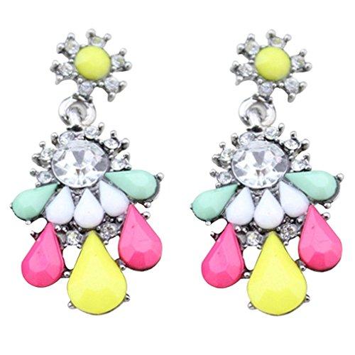 Waterdrop Colorful Yazilind Encanto claro Crystal cuelga los pendiente