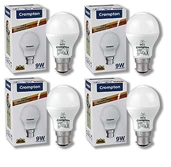 Crompton Base B22 9-Watt LED Lamp (Pack of 4, Cool Day Light)