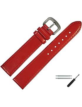 Uhrenarmband 14mm Leder Rot, Feines Echtes Rindleder - Marburger Uhrband Inkl. Federstege / Werkzeug - Passend...