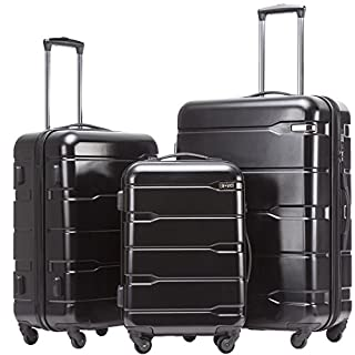 COOLIFE Koffer Reisekoffer Vergrößerbares Gepäck (Nur Großer Koffer Erweiterbar) PC + ABS Material mit TSA-Schloss und 4 Rollen(Schwarz, Koffer-Set)
