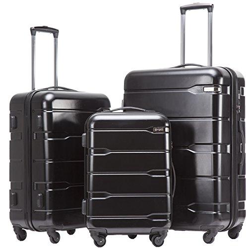 COOLIFE Koffer Reisekoffer Vergrößerbares Gepäck (Nur Großer Koffer Erweiterbar) PC + ABS Material mit TSA-Schloss und 4 Rollen(Schwarz, Koffer-Set) - Set Tsa-schloss