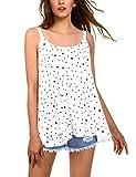 BaiShengGT Débardeur Femme Tops Gilet Vest T-Shirt Blouse Sans Manches Tank Été Soie de Mousseline Casual Simple Blanc-Pois XL