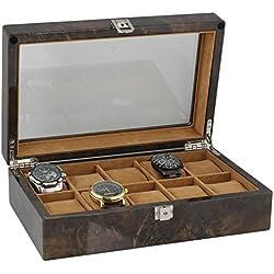 Armbanduhr Sammler Box für 10Handgelenk Uhren in dunklen Wurzelholz von aevitas
