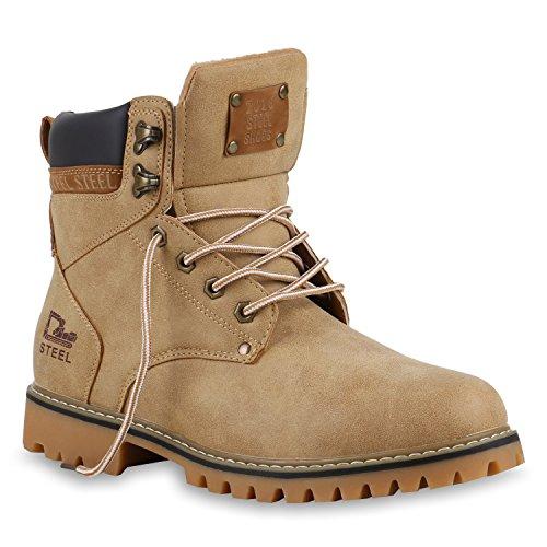Gefütterte Herren Outdoor Worker Boots Schnürstiefel Profilsohle Khaki