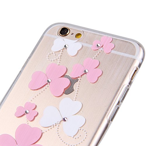 Durchsichtig Huelle für iPhone 5S, Felfy luxus Ultra Slim Bling Shiny Sparkle Diamant Dünnen Apple iPhone 5S 5 Cool Love Heart Muster Weiche Flexible Gel TPU Handy Tasche Back Case Cover Protective Zu Rosa Muster #3