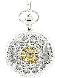 Infinite U Forma de Corazón Telaraña Hueco Esqueleto Acero Reloj de bolsillo Movimiento Mecánico Plateado