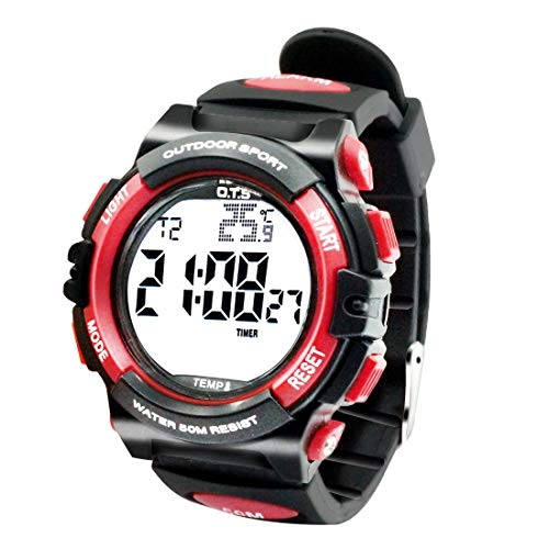 OTS - Reloj Deportivo para Niños Digital Resisitente al Agua Multifuncional con Luz Alarma Electrónico Infantil Regalo para Niñas - Negro Rojo
