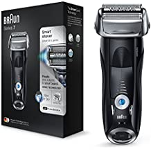 Braun Series 7 7840s - Afeitadora eléctrica de lámina para hombre, en húmedo y seco, máquina de afeitar con recortadora de precisión extraíble, recargable e inalámbrica, con funda de viaje, negro