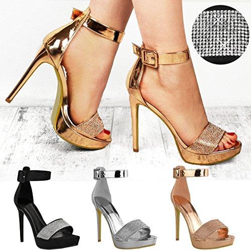 Sandales à talons aiguilles - semelle plateforme - strass brillants - femme