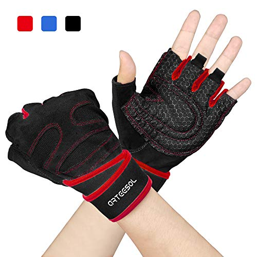 arteesol Fitness Handschuhe, Herren Damen Training Sport Handschuhe für Grip Gewichtheben Training Fitness Bodybuilding Training und Outdoor Sports mit Adjustable Handgelenkstütze (M, Rot 2.0)