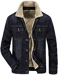 8751bb91e9080 Minetom Hommes Hiver Manches Longues Blouson Nouvelle Veste En Jean  Masculine Jacket Trucker Denim Épais Chaud