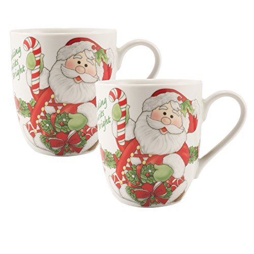 Fitz and Floyd Holiday Mug Candy Cane Santa Collection (Set of 2), Red/White by Fitz and Floyd Fitz Und Floyd Candy