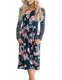 Damen Langarm Kleid A-Line Maxikleider T-Shirt Drucken Strandkleid Vintage  Abendkleid Rundhals Hohe Taille Elegant… 2d7af9210c
