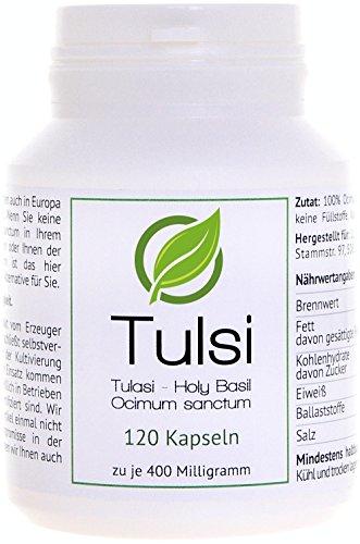 Tulasi (Tulsi, basilico sacro, Holy Basil, Red Basil) - (Ocimum sanctum) - 120 Capsule in barattolo salva aroma