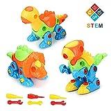 Fansteck Montage Dino Spielzeug, 3er Auseinander Nehmen Dinosaurier Konstruktionsspielzeug Set für Kinder ab 3 Jahre, Kinder Werkzeugkoffer mit 6 Schraubenzieher, 3 Mini Dino und 3...