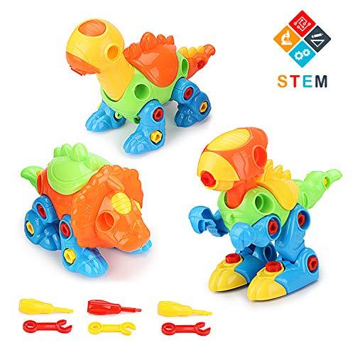 Fansteck Montage Dino Spielzeug, 3er Auseinander Nehmen Dinosaurier Konstruktionsspielzeug Set für Kinder ab 3 Jahre, Kinder Werkzeugkoffer mit 6 Schraubenzieher, 3 Mini Dino und 3 Aufkleber - Dinosaurier-spielzeug Kinder Für
